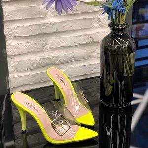 Valentino Garavani highlighter yellow heels